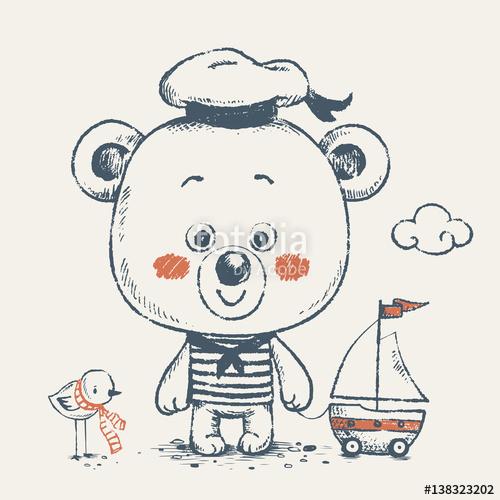 Drawn ship cartoon Drawn Can sailor Cute with