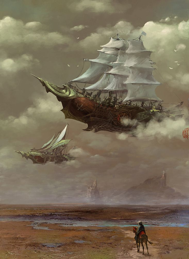 Drawn ship desert Steam … Pinterest Airship Best