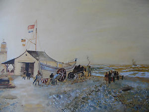 Drawn ship dutch Lifeboat C Dutch Horse Lighthouse
