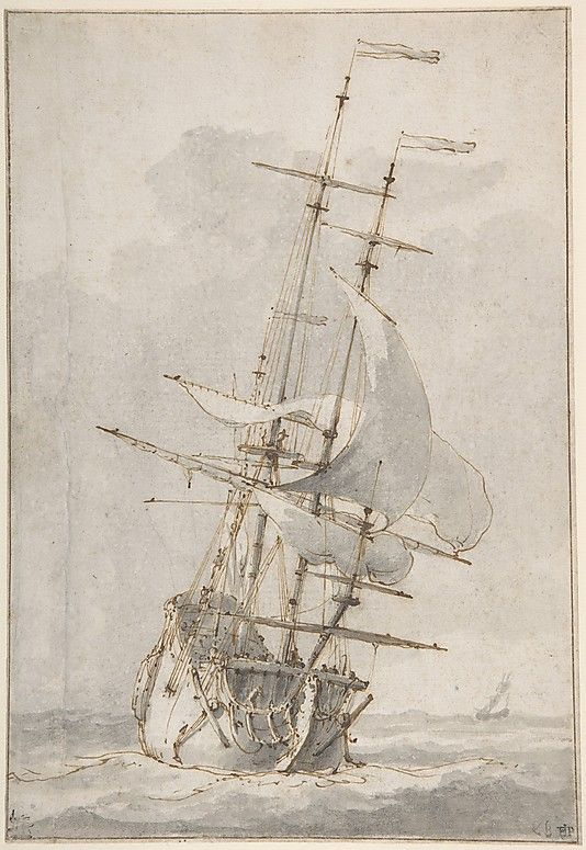 Drawn ship dutch Bakhuizen (Dutch 1630–1708 on Sea: