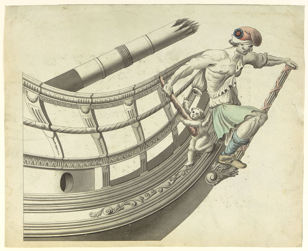 Drawn ship figurehead With it  San aid