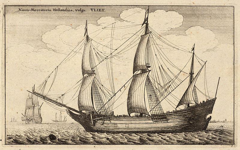 Drawn ship fluit Dutch in (like vessel Hector)