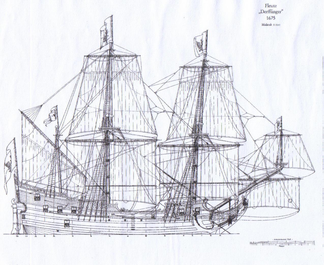 Drawn ship fluit Trading Dutch 30 Fluyt3