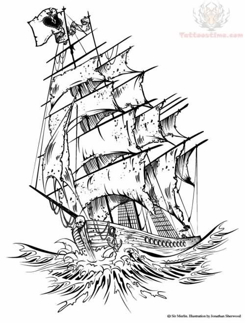 Drawn ship ghost Source jpg images tattoo (500×658)