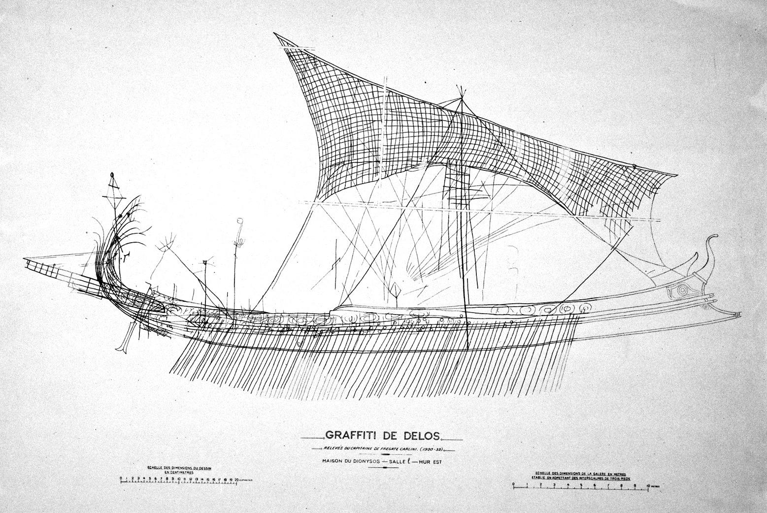 Drawn ship graffito Ships Ports ancient Ports Antiques