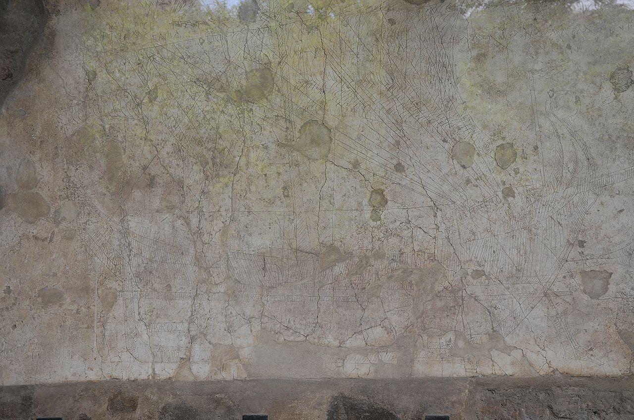 Drawn ship graffito A with of Pompeii ship