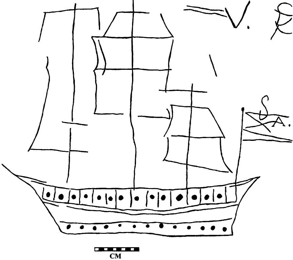 Drawn ship graffito & Bahamian Graffiti Savagery Middle
