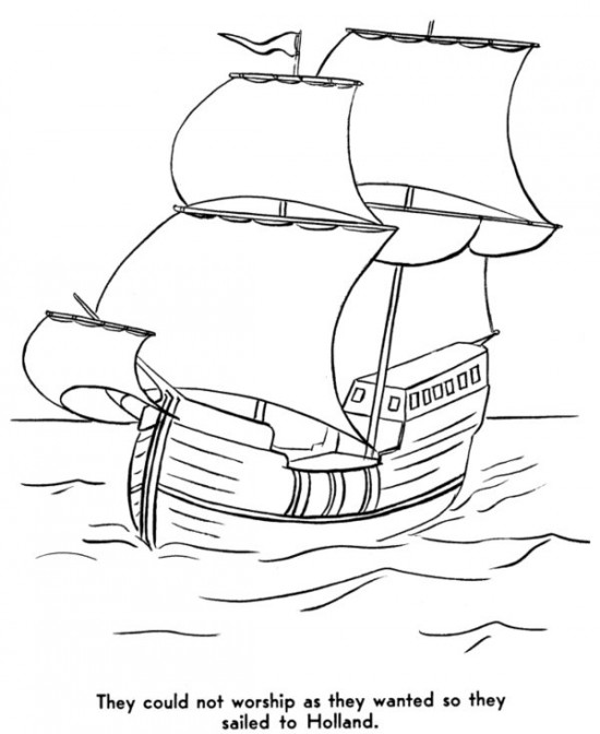 Drawn ship indian arrival day Indians Printable Pilgrims Coloring Pages