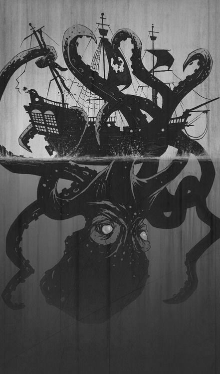 Drawn ship kraken Mythical creature to ideas believed