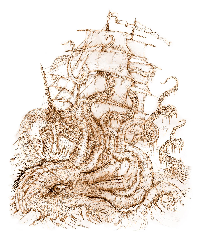Drawn ship kraken By PaperCutIllustration @deviantART  deviantart