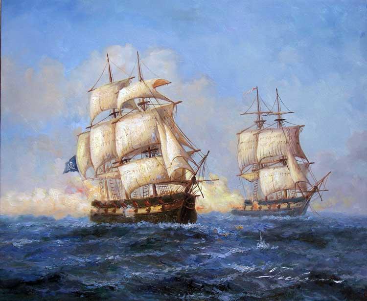 Drawn ship oil paint Pirate Ocean Oil roger Battle