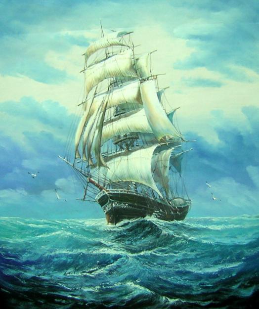 Drawn ship oil paint ~  – most ORIGINAL