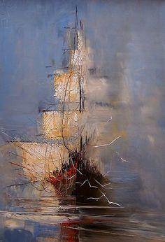 Drawn ship oil paint Kopania DOCK ANTHONY barcos ·