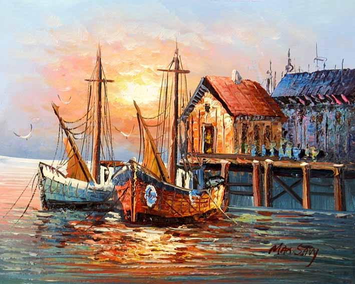 Drawn ship oil paint Of on Harbor Yayuan Boat