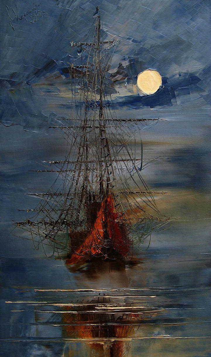 Drawn ship oil paint Textured paintings Sea ideas Paintings