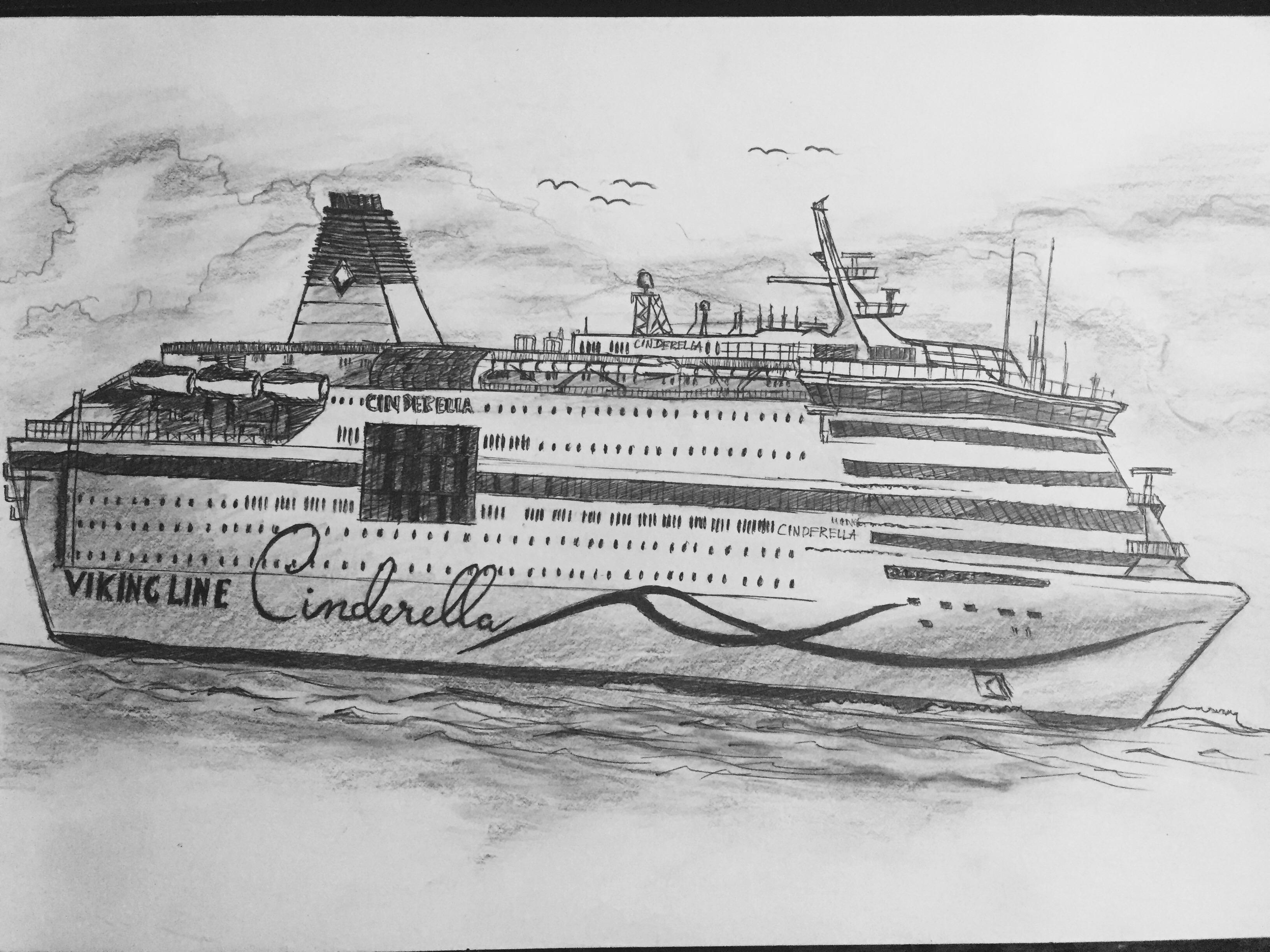 Drawn ship passenger ship By Dai a ship on