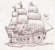 Drawn ship pencil drawing Decor zoeken pirate Florida Pinterest