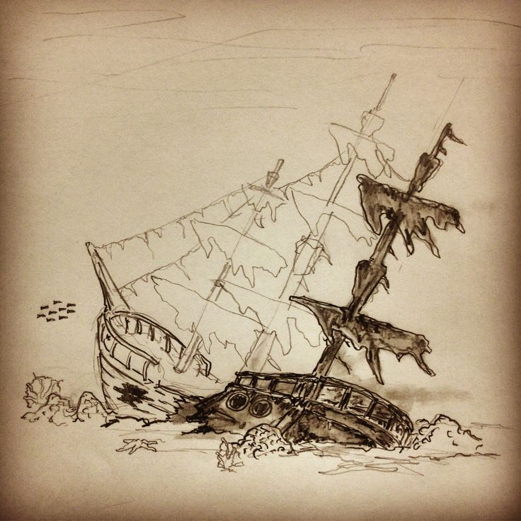 Drawn ship pirate shipwreck Pirate Ship Sunken photo#26 drawing