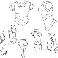 Drawn shirt anime Skizze to Folds Study: Wrinkles