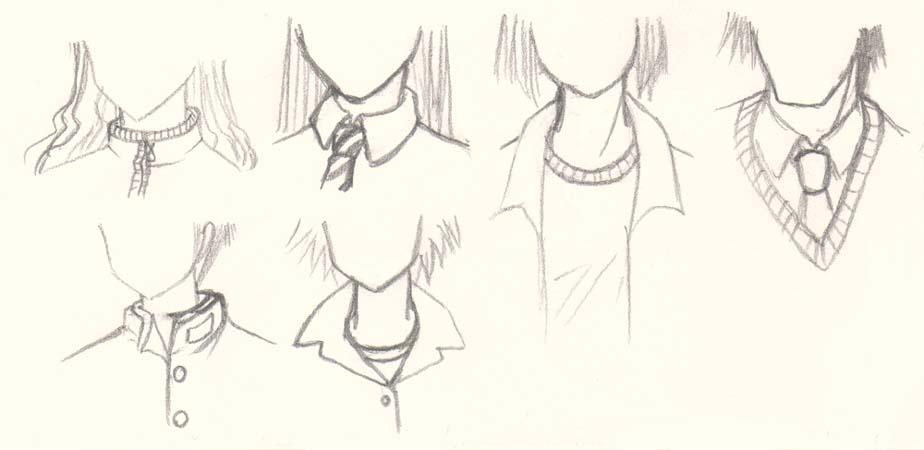 Drawn shirt anime Manga Collars Tutorials