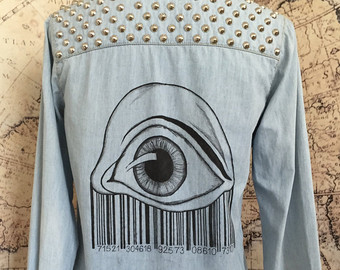 Drawn shirt back DRAWN Size Medium Denim Studded