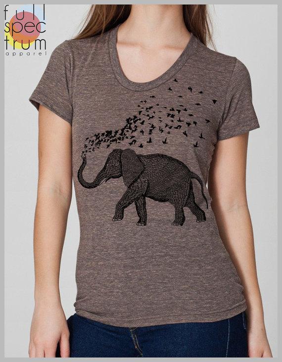Drawn shirt back American Printed s Birds Elephant