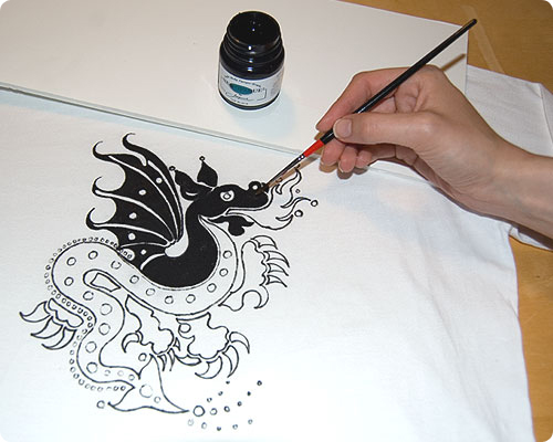 Drawn shirt fabric marker Dragon  Shirt