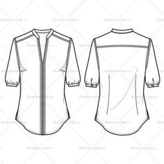 Drawn shirt fashion flat Zip Jacket Template Y Flat