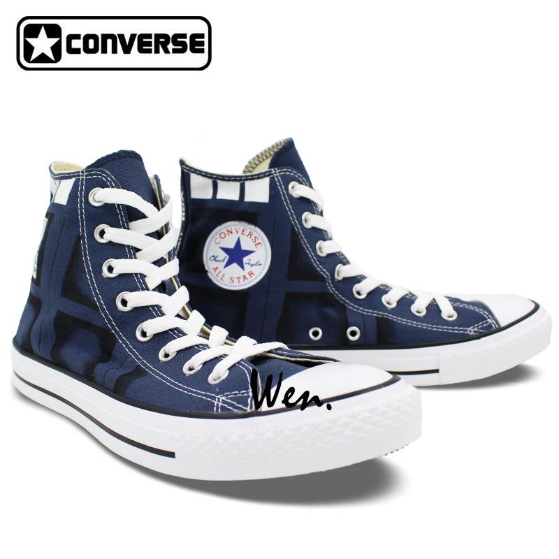 Drawn converse shoe Box  Blue Drawn Painted