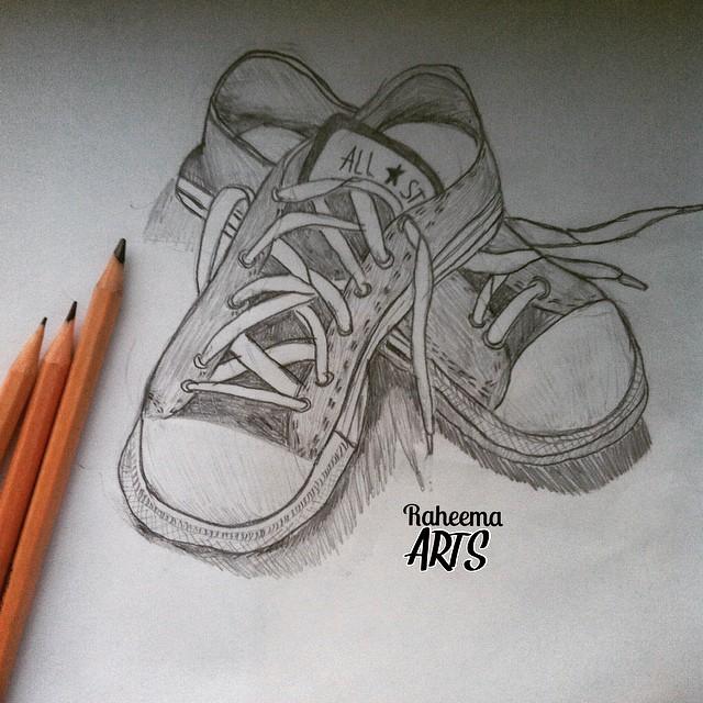 Drawn shoe all star #sketch رحيمة Klear (@miss_doodledee) #paper