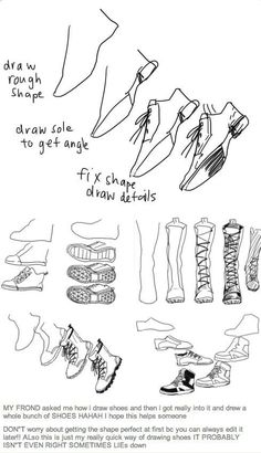 Drawn sneakers reference Zapatos Shoe to Shoes; Draw