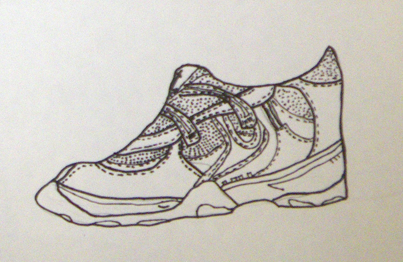Drawn shoe art Ink 4th Brown and with