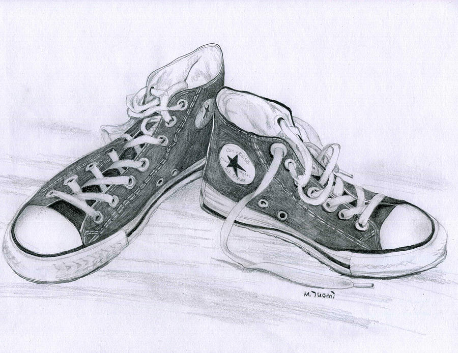 Drawn still life converse Tonal con drawing Pinterest Art