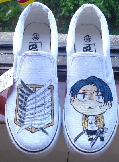 Drawn shoe attack on titan Stack 10 Leather 60s Heels