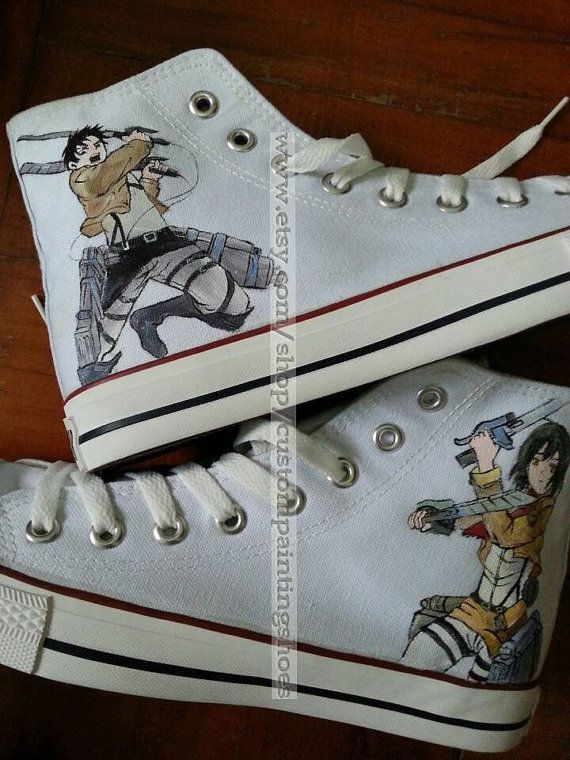 Drawn shoe attack on titan On custompaintingshoes anime on titan