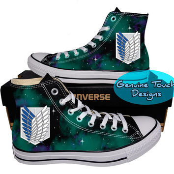 Drawn shoe attack on titan Converse chucks Converse on shoes