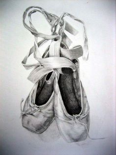Drawn shoe ballet slipper Whimsical watercolor Painting Ballet ink:::