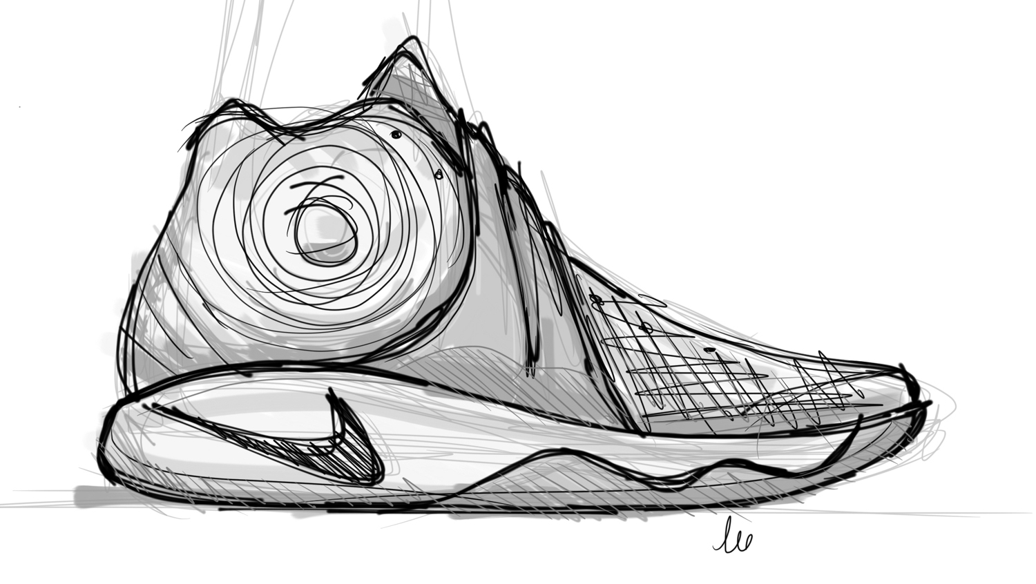Drawn shoe basketball shoe Nike Sole Sole Collector Inferno