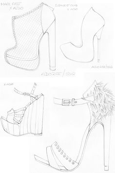 Drawn shoe blank Rise Fashion 2012 Sketchbook swatches
