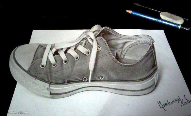 Drawn shoe charcoal Drawing and Drawings shoe 3d