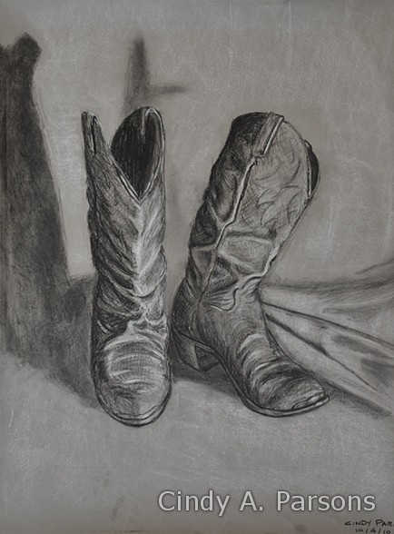Drawn shoe charcoal On concept the black White