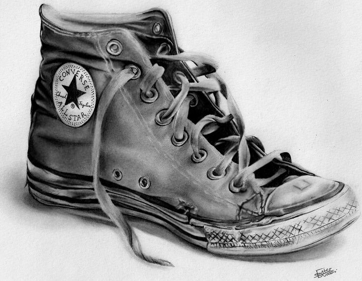 Drawn shoe charcoal Sketch on Shoes Tennis Life