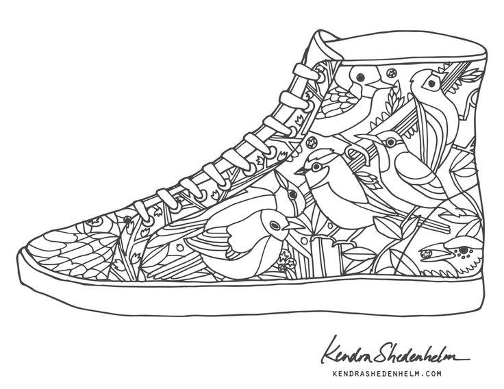 Drawn shoe coloring page #12