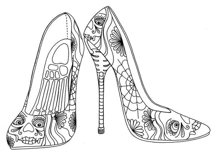 Drawn shoe coloring page #6