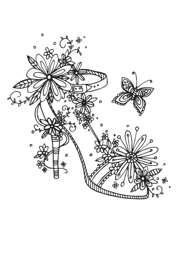 Drawn shoe coloring page #13
