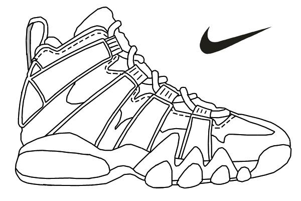 Drawn shoe coloring sheet Air air Enjoy Nike Enjoy