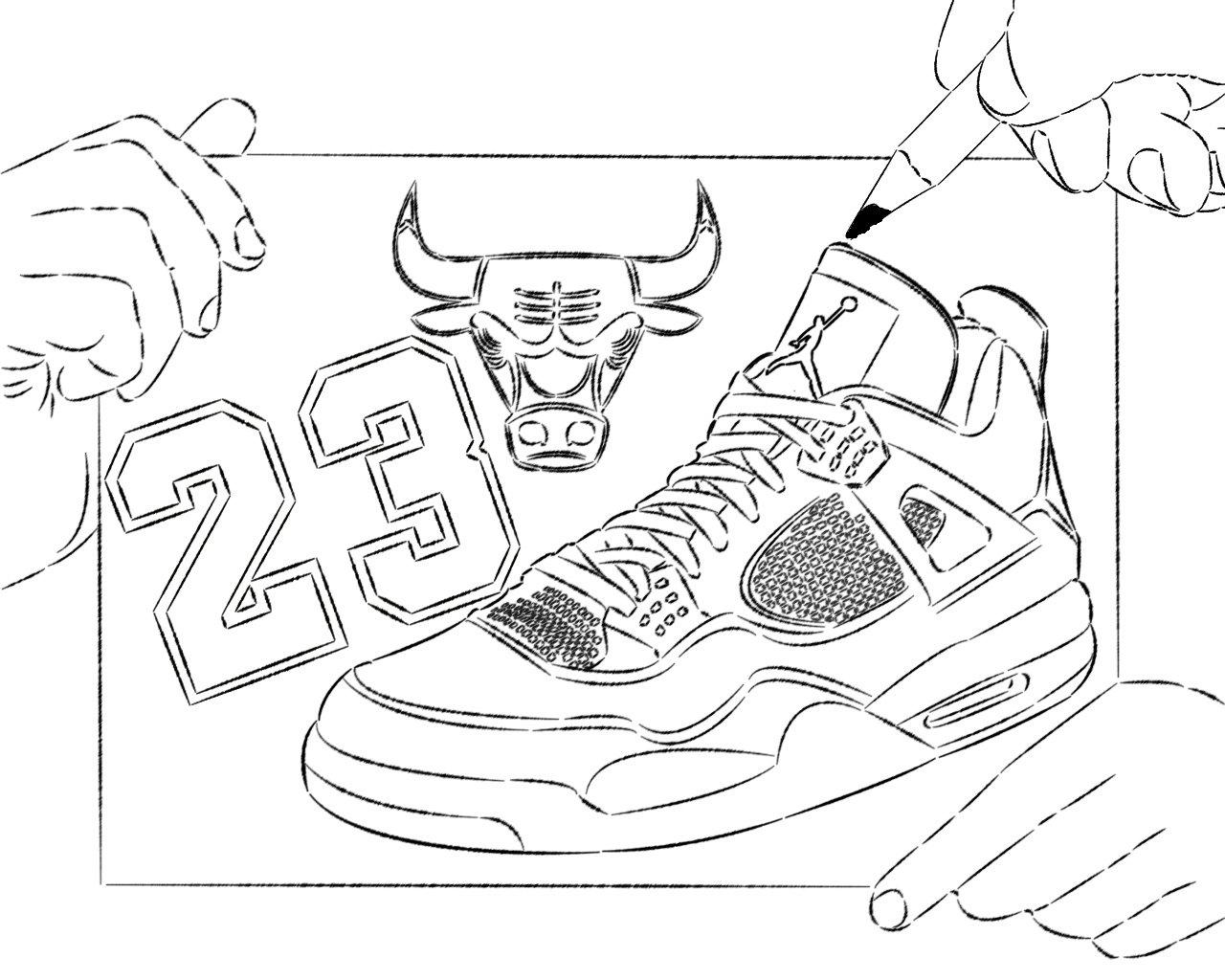 Drawn shoe coloring sheet Shoes Pages Pages Jordan Children