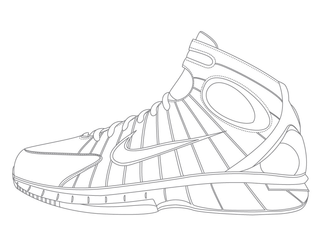Drawn shoe coloring sheet Nike Coloring  Children Pages