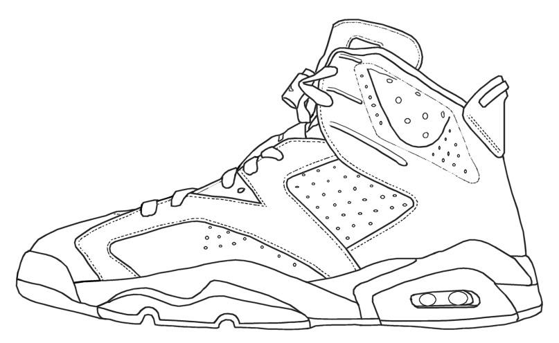 Drawn shoe coloring sheet Jordan ~  Dimension Jordan