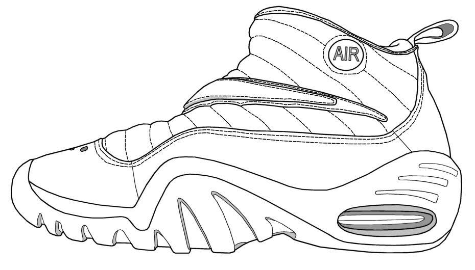Drawn shoe coloring sheet Shoes Shoes to jordan coloring